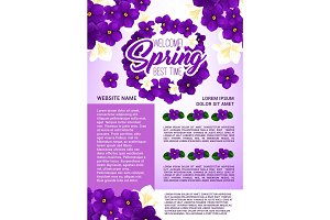 Spring holidays floral wreath greeting poster