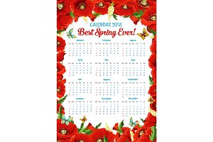 Vector calendar 2018 of spring poppy flowers frame
