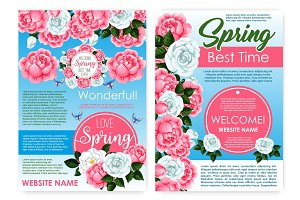 Posters of flowers for spring holiday greetings