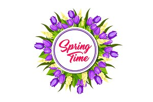 Spring floral wreath frame greeting card design