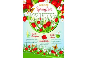 Spring flowers greeting poster template design