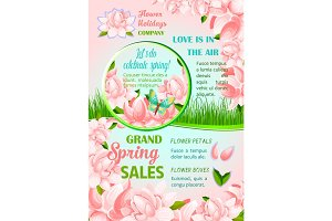 Spring holiday flowers festive poster design