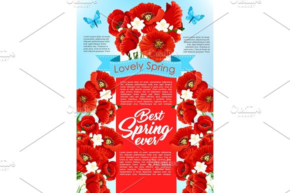 Vector Spring Time Flowers For Greeting Poster