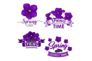 Spring flower bouquet isolated symbol set