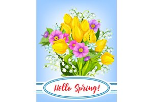 Vector spring holiday greeting card with flowers