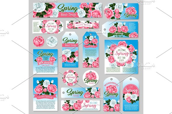 Spring Rose Flower Gift Tag And Greeting Card Set