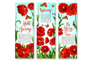 Vector banners of spring poppy flowers and quotes