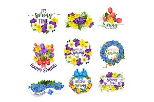 Spring flowers wreath and vector floral bouquets