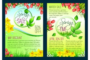 Spring sale floral poster, discount flyer template