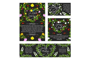 Vector spring greeting sale banner, flowers poster