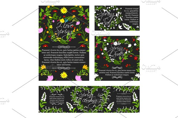 Vector Spring Greeting Sale Banner Flowers Poster