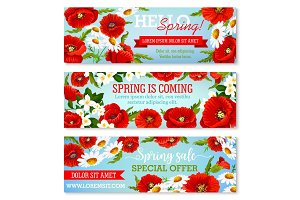 Vector banners for spring time flowers sale