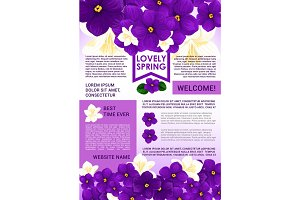 Welcome Spring poster template with floral border