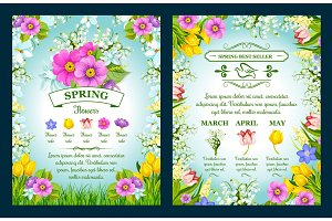 Spring holiday sale vector posters set