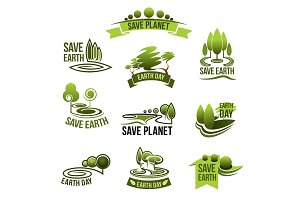 Save Earth Planet vector ecology protection icons