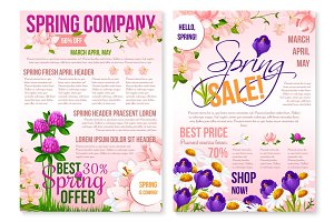 Spring season sale floral poster template design