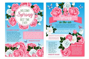 Posters for spring holiday of vector roses flowers