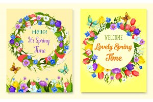 Hello spring flower frame for greeting card design