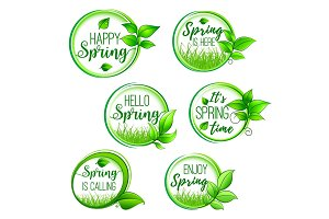 Vector green floral icons for Hello Spring design