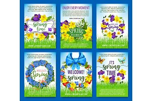 Spring flowers holiday greeting vector posters set
