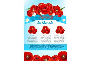 Vector spring poster of poppy flowers wreath
