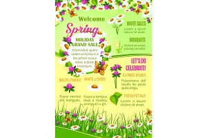 Spring sale of flowers poster template design