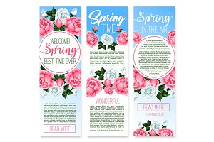 Spring holidays floral welcome banner template