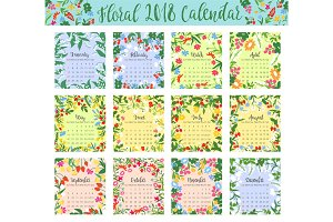 Floral calendar with wild flower and berry frame
