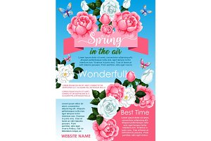 Spring flower wreath greeting poster template