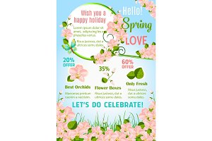 Hello spring floral poster with orchid flowers