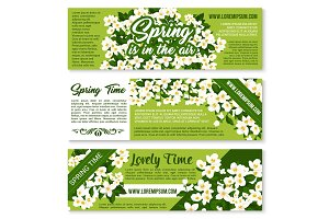 Vector Spring time floral greeting banners