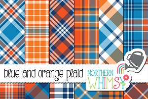 Blue and Orange Plaid Patterns