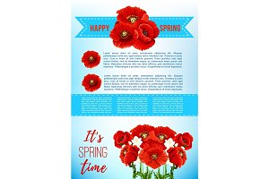 Vector spring holiday poster with poppy flowers