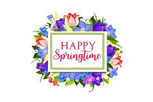 Spring holidays greeting card with floral frame