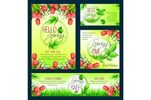 Spring sale banner template with blooming flower