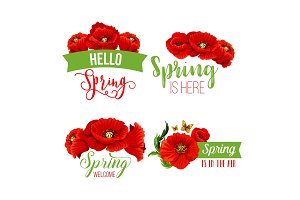 Vector spring time greeting quotes poppy flowers