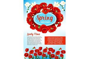 Vector floral poster for spring holiday greetings