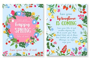Spring holiday poster with flower and berry wreath