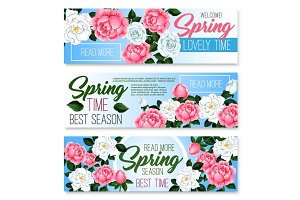Vector banners of spring time roses bunches