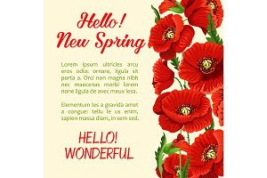 Vector poster of poppy flowers Hello Spring quote
