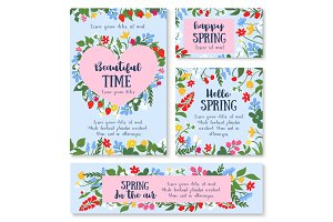 Hello spring poster template with flower and berry