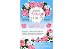 Spring rose flowers greeting poster template