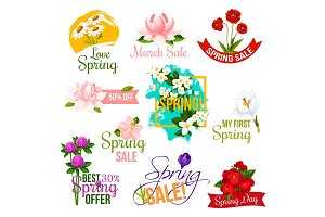 Spring sale label and emblem set with flowers
