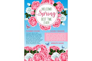 Welcome spring floral greeting banner template