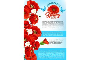 Vector greeting poster of spring poppy flowers