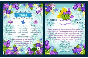 Vector floral posters for spring sale shopping