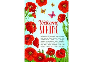 Vector poster of flowers and Welcome Spring quotes