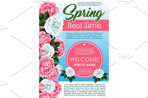 Spring Season Floral Poster With Rose Flowers