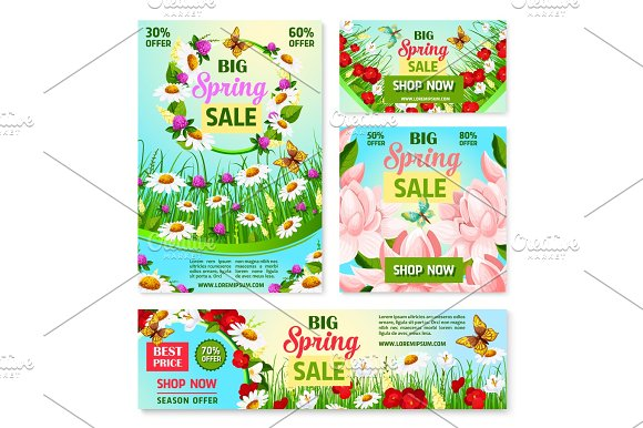 Spring Sale Best Price Offer Banner With Flowers