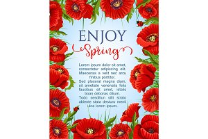 Vector poster of spring poppy flowers wreath